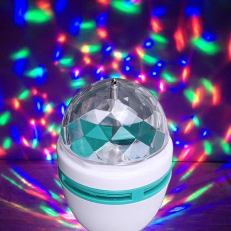 Трехцветная светодиодная LED диско лампа E27
