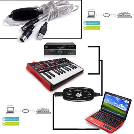Переходник - конвертер из USB в MIDI кабель 2 метра