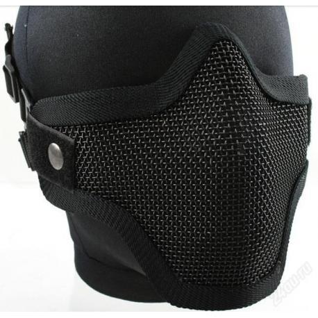 Маска для страйкбола, пейнтбола, на нижнюю часть лица, металлическая сетка (черная)