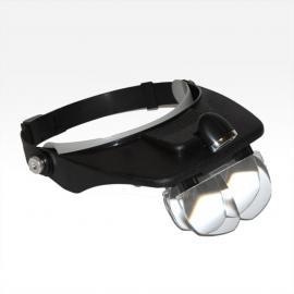 Лупа налобная бинокулярная со светодиодной  подсветкой и креплением на голову.